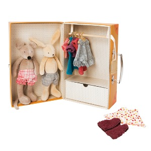 Wardrobe mouse & rabbit + clothing set suitcase
